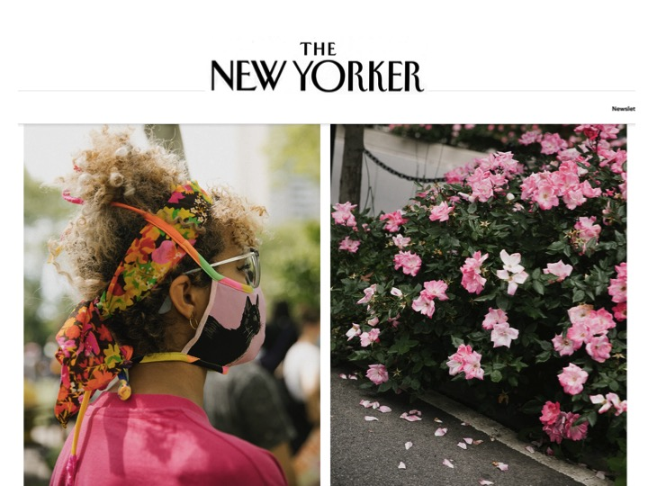 Rosina~Mae mask pictured in The New Yorker. Rose pays respects during the George Floyd memorial in Brooklyn.